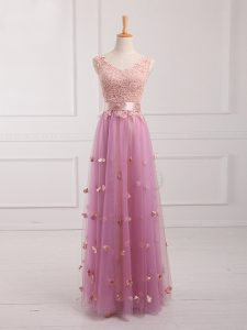 Floor Length Empire Sleeveless Lilac Court Dresses for Sweet 16 Lace Up