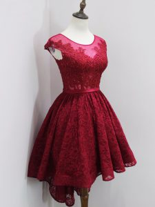 Sexy Wine Red Zipper Scoop Beading and Lace Quinceanera Court Dresses Lace Cap Sleeves