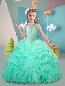 Custom Designed Floor Length Hot Pink and Apple Green Kids Formal Wear High-neck Sleeveless Lace Up