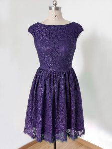 Purple Empire Lace Scoop Cap Sleeves Lace Knee Length Lace Up Quinceanera Court Dresses