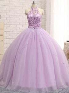 Lilac Ball Gowns Beading Quinceanera Gown Lace Up Tulle Sleeveless