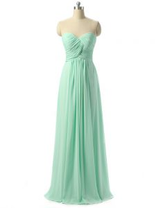 Shining Sweetheart Sleeveless Chiffon Dama Dress for Quinceanera Ruching Lace Up