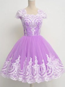 Lavender 3 4 Length Sleeve Lace Knee Length Court Dresses for Sweet 16