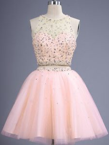 Fine Peach Two Pieces Tulle Scoop Sleeveless Beading Knee Length Lace Up Court Dresses for Sweet 16