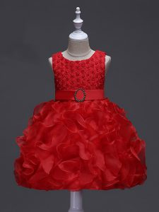 Luxurious Sleeveless Organza Knee Length Lace Up Pageant Gowns For Girls in Red with Ruffles and Belt