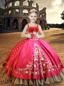 Inexpensive Straps Sleeveless Little Girls Pageant Dress Wholesale Floor Length Embroidery Hot Pink Taffeta