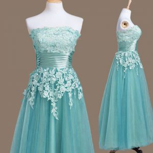 Light Blue Tulle Lace Up Strapless Sleeveless Tea Length Quinceanera Court of Honor Dress Appliques