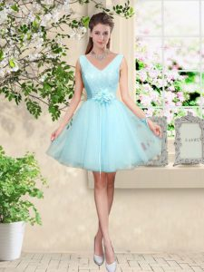 Free and Easy Aqua Blue Vestidos de Damas Prom and Party with Lace and Belt V-neck Sleeveless Lace Up