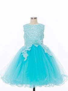 Exquisite Sleeveless Knee Length Appliques and Hand Made Flower Zipper Girls Pageant Dresses with Baby Blue