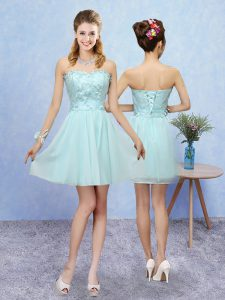 Sleeveless Tulle Mini Length Lace Up Quinceanera Dama Dress in Aqua Blue with Appliques