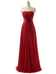 Deluxe Sleeveless Floor Length Ruching Lace Up Quinceanera Dama Dress with Wine Red