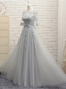 Clearance Floor Length Grey Vestidos de Damas Tulle Half Sleeves Appliques