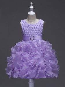 Lavender Lace Up Little Girls Pageant Dress Wholesale Ruffles and Belt Sleeveless Knee Length