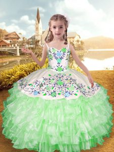 Apple Green Sleeveless Organza and Taffeta Lace Up Girls Pageant Dresses for Party and Wedding Party