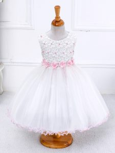 White Ball Gowns Organza Scoop Sleeveless Appliques Tea Length Zipper Kids Formal Wear
