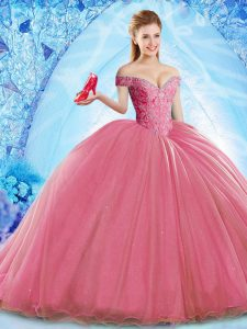 Coral Red Sleeveless Beading Lace Up Ball Gown Prom Dress