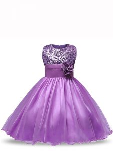 Knee Length Ball Gowns Sleeveless Purple Pageant Gowns For Girls Zipper