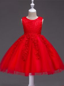 Knee Length Ball Gowns Sleeveless Red Little Girl Pageant Gowns Zipper