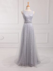 Grey Zipper Dama Dress for Quinceanera Beading and Lace Sleeveless Brush Train