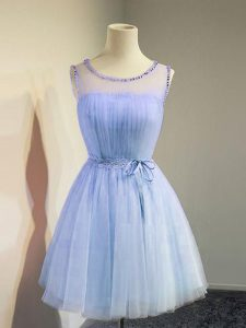 Best Scoop Sleeveless Tulle Dama Dress for Quinceanera Belt Lace Up
