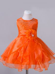 Exquisite Scoop Sleeveless Organza Little Girls Pageant Dress Wholesale Beading and Hand Made Flower Zipper