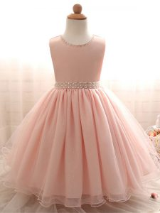 Graceful Floor Length Pink Kids Formal Wear Scoop Sleeveless Lace Up