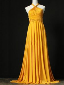 Top Selling Orange Empire Chiffon Halter Top Sleeveless Ruching Criss Cross Damas Dress Sweep Train