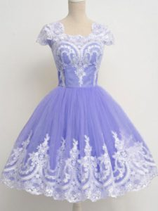Classical Lavender A-line Tulle Square Cap Sleeves Lace Knee Length Zipper Dama Dress