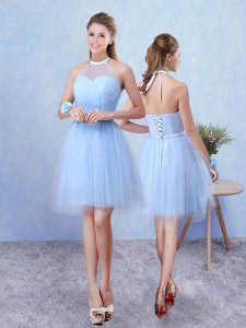 Blue Sleeveless Ruching Knee Length Quinceanera Court Dresses