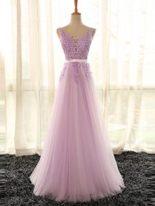Floor Length Lilac Quinceanera Court Dresses Tulle Sleeveless Appliques