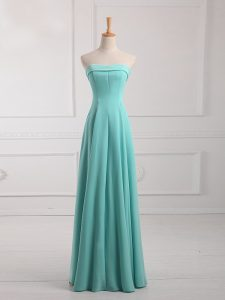 Modest Ruching Damas Dress Aqua Blue Lace Up Sleeveless Floor Length