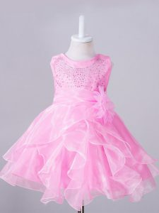 Inexpensive Beading and Hand Made Flower Child Pageant Dress Rose Pink Zipper Sleeveless Knee Length