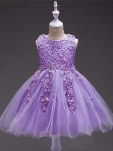 Dazzling Scoop Sleeveless Zipper Kids Pageant Dress Lavender Tulle