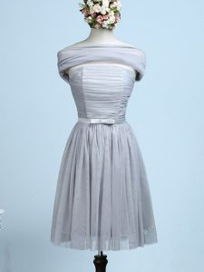 Grey Empire Tulle Strapless Sleeveless Belt Mini Length Side Zipper Quinceanera Dama Dress