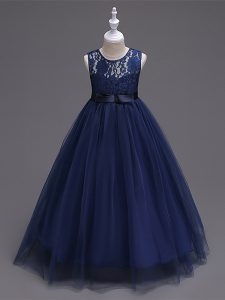 Sleeveless Tulle Floor Length Zipper Little Girls Pageant Dress in Navy Blue with Lace