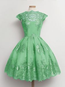 Knee Length Green Quinceanera Court of Honor Dress Tulle Cap Sleeves Lace
