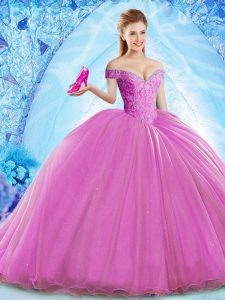 Spectacular Sleeveless Brush Train Lace Up Beading Quince Ball Gowns