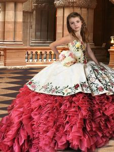 Charming White And Red Ball Gowns Strapless Sleeveless Organza Brush Train Lace Up Embroidery and Ruffles Little Girls Pageant Gowns