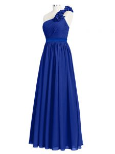 Top Selling Royal Blue Zipper One Shoulder Ruffles and Ruching Quinceanera Court Dresses Chiffon Sleeveless