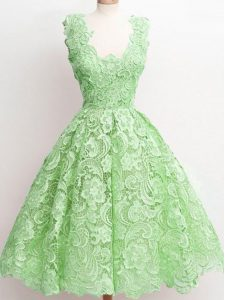 A-line Lace Court Dresses for Sweet 16 Zipper Lace Sleeveless Knee Length
