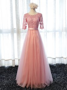 Pink Lace Up Quinceanera Court Dresses Lace Half Sleeves Floor Length