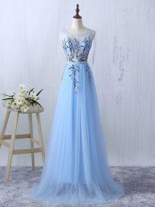 Scoop Sleeveless Damas Dress Floor Length Appliques Light Blue Tulle