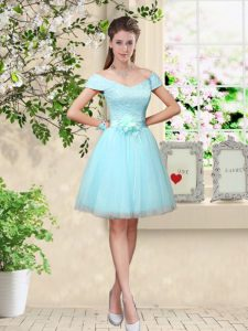 Nice Aqua Blue Tulle Lace Up Quinceanera Court of Honor Dress Cap Sleeves Knee Length Lace and Belt