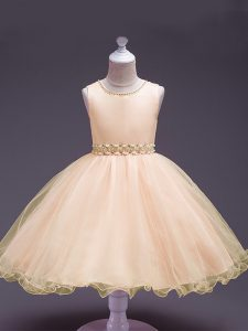 Cheap Peach Sleeveless Beading Knee Length Little Girls Pageant Gowns