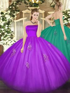 Superior Eggplant Purple Ball Gowns Tulle Strapless Sleeveless Appliques Floor Length Zipper 15 Quinceanera Dress