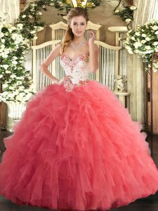 Sweetheart Sleeveless Sweet 16 Quinceanera Dress Floor Length Beading and Ruffles Watermelon Red Tulle