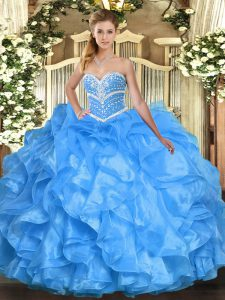 Ideal Sleeveless Beading and Ruffles Lace Up Quince Ball Gowns
