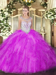Glittering Fuchsia Zipper Scoop Beading and Ruffles Sweet 16 Quinceanera Dress Tulle Sleeveless
