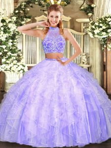 Lavender Two Pieces Beading and Ruffles Vestidos de Quinceanera Criss Cross Tulle Sleeveless Floor Length