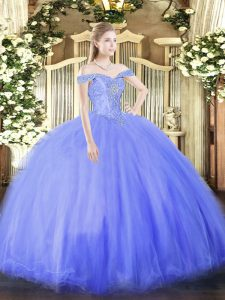 Sleeveless Floor Length Beading Lace Up Sweet 16 Dress with Blue